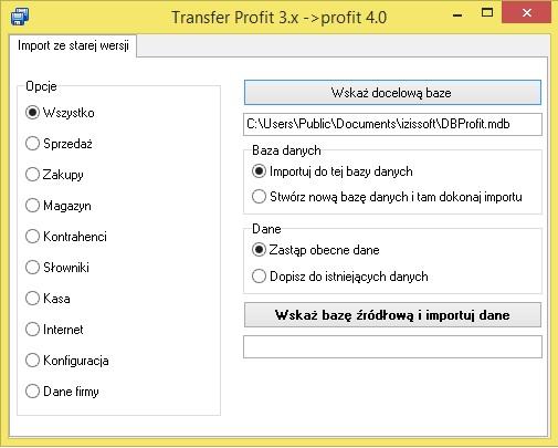 Przeniesienie bazy do nowej wersji programu Izissoft Profit